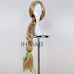 Top Qualité 100 CM Long Raiponce Tangled Light Blonde Droite Cosplay Cheveux grande tresse pour les femmes fête Perruque + Perruque Cap Raiponce comme l'image (bilichuanzd, neuf)