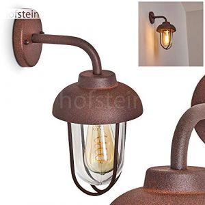 Applique d'extérieur Poznan en métal effet rouille et verre, applique murale rétro idéale pour une entrée vintage, lanterne pour 1 ampoule E27 max. 40 Watt, compatible ampoules LED (hofstein, neuf)