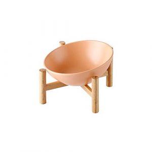 HCHLQLZ Orange Porte-gamelle Surélevée Gamelle incliné pour Chien et Chat Céramique avec Bambou Support en Bois Petit (Hetoco, neuf)