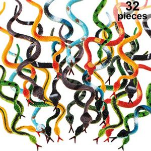 Blulu 32 Pièces Serpents en Plastique 4 Pouces Serpents de Forêt Tropicale Serpents Réalistes en Caoutchouc Jouets de Serpent Faux de Couleurs Assorties pour Garçons et Filles (32 Pièces) (Kaize Network, neuf)