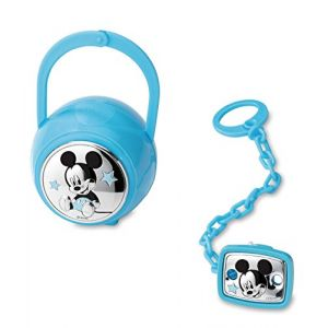 Disney Baby - Attache sucette et range-sucette avec box Mickey Mouse - en argent (Valenti&Co, neuf)