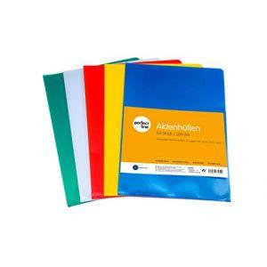 perfect line 50 pochettes coin colorées, format A4, 5 couleur, ouverture en coin, pochette à rabat plastique, pochette classeur, idéales pour protéger papiers et documents, chemise transparente (procket, neuf)