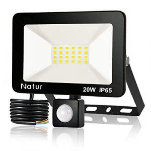 20W Projecteur LED détecteur de mouvement, Blanc Froid(6000K) spot led exterieur avec detecteur IP65 lampe de sécurité idéal pour éclairage public, garage, couloir, jardin[Classe énergétique A++] (Bapro, neuf)