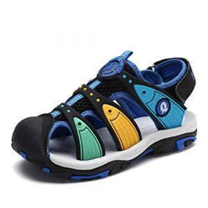 Sandales en d'été pour Garçon Outdoor Nu Pieds Bout Fermé des Chaussures de Parc(Noir-Bleu) 32 EU (wyhweilong, neuf)