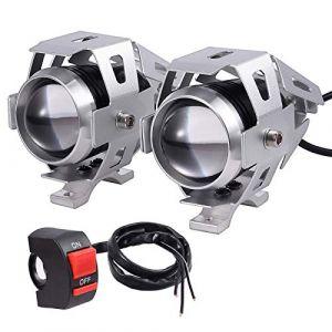 Moto Phare 2pcs Étanche en Acier Inoxydable LED Cree U5 avec 3 modes Super Bright 125W 3000lm en Alliage d'Aluminium Réglable pour Moto Ampoule de Brouillard avant Lumières Spots pour Moto Voiture (serakadig, neuf)