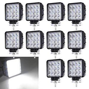 Lot de 10 Phares de Travail LED 48W 12V 24V Projecteur Offroad Phare de Recul IP67 6500K 4320lm (Dr. Bright, neuf)