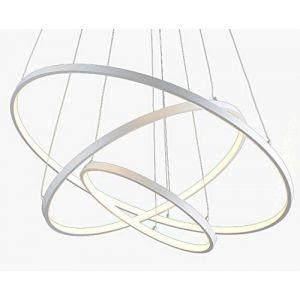 LED 3 Anneaux Suspension Moderne Dimmable Circulaire Conception Salle à manger Éclairage Suspendu Blanc Aluminium et Acrylique Chambre Lustre Salon Bureau Étude Lampe Suspension 120W 40+60+80cm (czrLampe, neuf)
