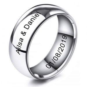 MeMeDIY 8mm Ton d'argent Acier Inoxydable Anneau Bague Bague Mariage Amour Taille 60 - Gravure personnalisée (MeMeDIY, neuf)