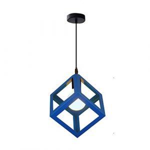 STOEX Suspension Luminaire Industrielle Contemporain, Lustre Abat-Jour Plafonnier en Métal Fer Cage E27 (Cube-Bleu) (STOEX, neuf)