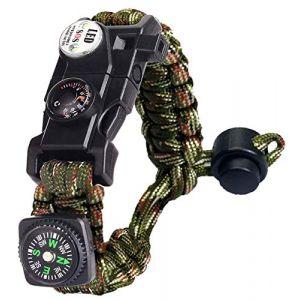 Bracelet Paracorde Survie pour Homme Femme, Militaire Paracord Bracelet Kit avec Flint + Boussole + Thermomètre + Sifflet + Lumière LED pour Extérieur, Randonneur, Baroudeur, Explorateurs (Camoufler) (BXooo, neuf)