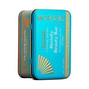Makari Pain de savon bleu cristal revivifiant - Pain de savon éclaircissant et nettoyant au Glutathione naturel - Exfolie la peau sombre et éclaircit le teint sombre (Makari De Suisse EU, neuf)