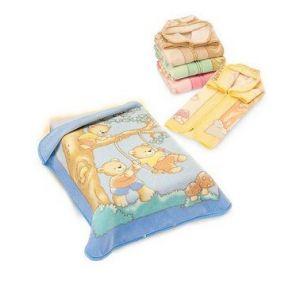 BabySac couverture bébé garçon 3 en 1 - N°117 Ours sur la balançoire - Bleu (NISSANOU, neuf)