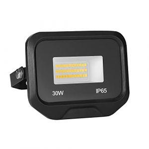 30W 3000LM Projecteur LED Lumières Extérieures 3500K Super Lumineux Blanc Chaud Lampe Projecteur Spot LED Puissant Projecteur LED Extérieur IP65 Etanche Câble 0.5M [Classe énergétique A++] (NATUR, neuf)