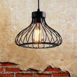 Dicai Vintage industriel pendentif lumière en fer forgé métal cage suspension plafonnier rétro réglable Edison suspension parfaite for Loft Bar grenier ferme E27 base (Xin Hongming, neuf)