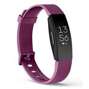 Amzpas Compatible pour Fitbit Inspire Bracelet & Fitbit Inspire HR Bracelet, Classique Bracelet Bande de Remplacement Compatible pour Fitbit Inspire HR (07 Pourpre, L) (SMXMY-CN, neuf)