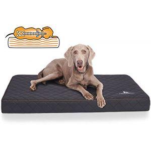 Knuffelwuff Tapis orthopédique pour chien, Coussin orthopédique Juna, similicuir surpiqué au laser, noir 110x66x10cm (tieradies, neuf)