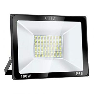 SOLLA Projecteur LED 100W, IP66 Imperméable, 8000LM, Eclairage Extérieur LED, Equivalent à Ampoule Halogène 550W, 6000K Lumière Blanche du Jour, Eclairage de Sécurité (LED Floodlight, neuf)
