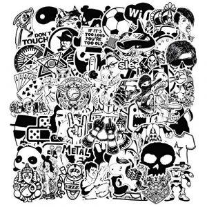 Modou Autocollants [120 pcs], Noir Blanc Graffiti Vinyle Autocollants pour Ordinateur Portable Voitures Moto vélo Skateboard Bagages Pare-Chocs (Modou Store, neuf)