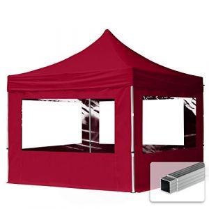 TOOLPORT Tente Pliante 3x3 m - 4 côtés Aluminium Barnum Chapiteau Pliant Tonnelle Stand Paddock Réception Abri Rouge (INTENT24, neuf)
