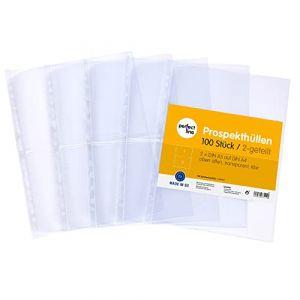 perfect line 100 pochettes transparentes de rangement pour collections, format A4, perforées translucides, divisées en 2 compartiments (A5-paysage), pochette plastique incolore avec ouverture en haut (procket, neuf)
