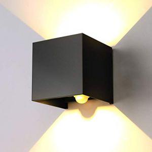 ENCOFT 12W Applique Murale avec Détecteur de Mouvement pour Extérieur Intérieur, Luminaire Mural LED Angle Réglable, Éclairage Mural IP67 Etanche 3000K Blanc Chaud, pour Couloir Jardin Chambre Noir (Topmail, neuf)