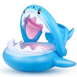 Bébé Siège De Piscine Requin Bague De Natation Flottante, Bouée Piscine Gonflable pour Enfants avec Réglable Auvent Gonflable pour Bébé de 6-36 Mois (FLYBOO, neuf)