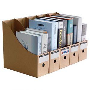 OFFIDIX Bureau 5 Niveaux Papier Kraft Boîte de rangement pour bureau A4 Document Holde Organisateur de papier à tiroir pour le bureau de maison Bricolage Conteneur de papier Classeur de stockage de l'élève Cabinet de stockage du tiroir Cubbyhole One Size