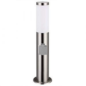 Lampadaire Dahlia 48 cm Luminaire extérieur E27 avec prise - Acier inoxydable - Argent (FR-DEUBA, neuf)