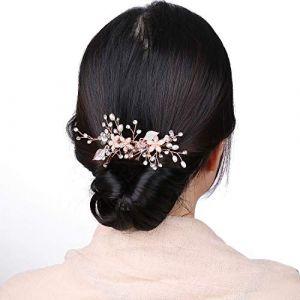Accessoires de cheveux d'or rose mariage pour la mariée, Rose Gold Rhinestone peigne à cheveux pour les filles bijoux de mariée avec des feuilles, perle à la main peigne diadème (cholinchin, neuf)