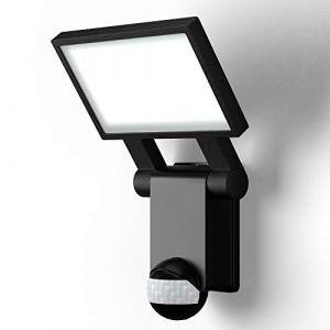 B.K.Licht applique murale noire IP44, détecteur de mouvements & capteur crépusculaire, éclairage extérieur jardin garage terrasse, platine LED puissante de 20W, 2000lm, lumière blanche neutre 4000K (B.K.Licht, neuf)