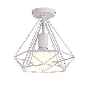 Plafonnier Industriel Diamant Métal en forme Cage Rétro Lustre Suspension Luminaire pour Salle à Manger Bar Chambre (Blanc) (DOO2U, neuf)