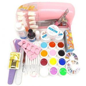 Warm Girl Kit de manucure professionnel 25 en 1 avec gel UV de couleur pour décoration de ongles, pinceau, cuticule et revitalisant avec lampe UV rose 9 W (Nail Center, neuf)