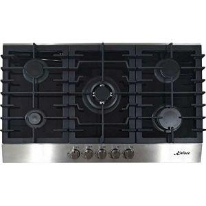Kaiser KCG 9386 Plaque de cuisson à gaz 90 cm / exclusif / Autonome / Cuisinière / 5 brûleurs - 4,5 kW WOK / Gaz naturel et propane possibles - Plaques de cuisson en Verre trempé/ Qualité Supérieure (elektroniks-home, neuf)