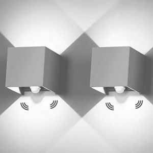 2 Pièces Applique Murale Interieur 12W Avec détecteur de movement 6000K Applique Murale Exterieur IP65 Luminaire Exterieur Murale Avec Angle de Faisceau Réglable Up Down Design Lampe Murale ?Gris? (ezon europe, neuf)
