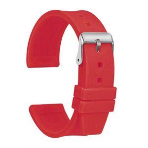 Ullchro Bracelet Montre Haute Qualité Remplacer Silicone Bracelet Montre Imperméable Flexible Lisse - 16,18,20,22,24,26,28mm Caoutchouc Montre Bracelet avec Acier Inoxydable Boucle (26mm, Rouge) (Ullchro-EU, neuf)