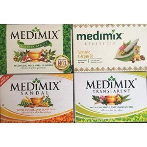 4 Savon Medimix ayurvedique = Turmeric and argan oil, medimix sandal and eladi oils, medimix glycerine et lakshadi oil et medimix savon 18 herbes (ELEGANCE INDIAN STORE, neuf)