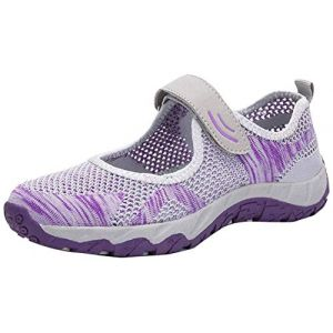 H-Mastery Femme Chaussures de Sport Respirante Léger Mesh Fitness Baskets pour Ballerine Yoga Marche Outdoor Velcro Mary Janes(Gris Violet,Taille37) (Hanson Mastery, neuf)