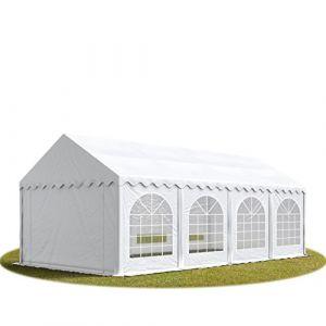 TOOLPORT Tente Barnum de Réception 4x8 m Premium Bâches Amovibles PVC 500 g/m² Blanc + Cadre de Sol Jardin INTENT24 (INTENT24, neuf)