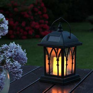 Festive Lights Lanternes Solaires Décoratives Extérieures Noir Mat avec Éclairage Bougie LED Effet Vacillant Waterproof (27cm Hauteur) (Festive Lights Ltd, neuf)