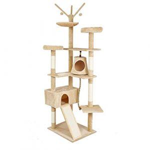 Meerveil Arbre à Chat Grande Palais de Chat Cadre d'escalade de Chat Planche à Gratter, 6 Niveaux avec Toboggan, Berceau, Balançoire, Grand Niches 2 Belvédère pour Le Chat, Hauteur 210cm (Beige) (Zillon, neuf)