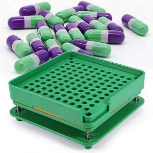 Gélulier, plaques de capsules vides en plastique avec Spreader 100 trous poudre cosmétiques Capsules Remplissage manuel 00# (Letcart, neuf)