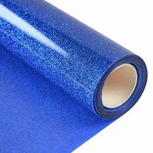 Topmail 160cmx25cm holographique Cristal Argent en Vinyle de Transfert de Chaleur Fer sur T-Shirt HTV Vinyle pour Cameo Silhouette, Cricut, Chaleur, Pression (Bleu) (Topmail, neuf)