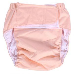 Broco Couche pour adultes, nouvelle couche lavable pour adulte Adjuatable en tissu, respirant, réutilisable, absorbant, super absorbant, couche moyenne, sous-vêtements pour incontinence(Rose clair) (Broco, neuf)