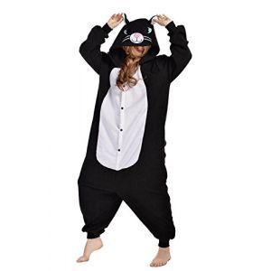 ABYED Adulte Unisexe Anime Animal Costume Cosplay Combinaison Pyjama Outfit Nuit Vetements Onesie Fleece Halloween Costume Soiree de Deguisements, Chat Noir, L(164-174CM) (ABYED_EUR, neuf)
