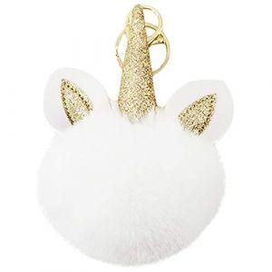 Porte Clé Clef Fluffy Boule Artificielle Fourrure Pompon Peluche Femme Fille Licorne Pendentif Original Accessoire de Sac Voiture (Blanc, Taille Unique) (chuangminghangqi, neuf)
