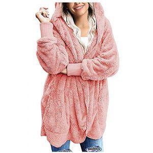 Manteau Femme Hiver Cardigan à Capuche énorme Peluche Manches Longues Blouson Veste Outwear Chaud Automne Hiver Parka Hoodie Pink S (Ginana, neuf)