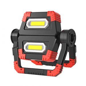 T-SUN Projecteur LED Rechargeable Projecteur Chantier 30W 1000LM 3600mAh Lampe de Travail Lanterne Portable avec Rotation à 360°, pour les pannes de courant, tente, camping, urgence, etc (T-SUNLED, neuf)