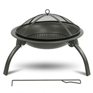 MaxxGarden Brasero Exterieur - Hauteur: 56cm - Brazeros Exterieur avec Support sur Pied - Brasero Fonte Robuste et Moderne - pour Barbecue et Chauffage Jardin - Noir Mat (maxxtools, neuf)