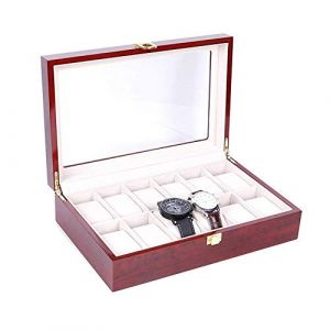 Boîte de montre Vitrine de rangement Boîte de rangement pour bijoux Collection de coffrets Porte-organisateur de rangement pour bijoux en bois (Couleur: Photo couleur, Taille: Taille unique) (Xianmin, neuf)