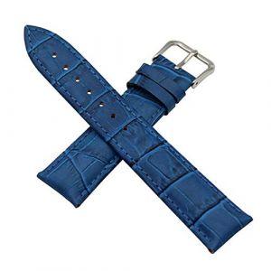 Bracelet Montre en Cuir véritable avec Bracelet en Cuir Croco 12/14/16/18/19/20/21/22/23/24 mm, Bleu, 22 mm (cocolook, neuf)